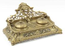 RENAISSANCE STYLE BRASS WRITING STAND/INK WELL SET. HEIGHT 6