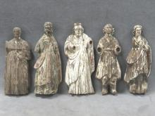 LOT (5) EARLY CARVED SANTOS FIGURES. SPANISH COLONIAL. LARGEST HEIGHT 9 1/2