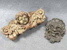 PAIR 18TH/19TH CENTURY CARVED ARCHITECTURAL ELEMENTS; 1 GILT ANGEL FIGURE AND FOLIATE FACE. HEIGHT 4