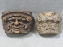 PAIR 18TH/19TH CENTURY CARVED WOODEN FIGURAL ARCHITECTURAL ELEMENTS. HEIGHT 4