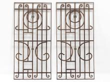 LOT (2) WROUGHT IRON GARDEN PANELS WITH CHRYSANTHEMUM APPLIQUES. HEIGHT 67 3/4