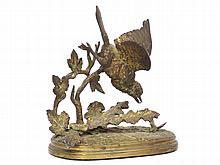 FERDINAND PAUTROT (FRENCH 1832-1874), GILT BRONZE, BIRD WITH INSECT, SIGNED. HEIGHT 7