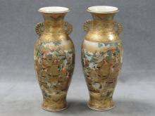 PAIR JAPANESE DECORATED SATSUMA VASES, SIGNED 19TH CENTURY. HEIGHT 12