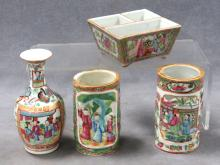 LOT (4) CHINESE ROSE MEDALLION DECORATED PORCELAIN INCLUDING (2) BRUSH HOLDERS, HEIGHT 4