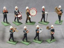 SET (9) PAINTED LEAD ROYAL MARINES MARCHING BAND