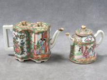 LOT (2) CHINESE ROSE MEDALLION DECORATED PORCELAIN TEA POTS, 19TH CENTURY. HEIGHT 4 1/2-5