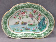 CHINESE FAMILLE ROSE DECORATED PORCELAIN SHAPED DISH, 19TH CENTURY. 8 X 11 1/2