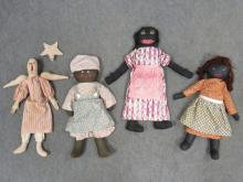 LOT (4) VINTAGE RAG DOLLS INCLUDING BLACK MAMMIE AND ANGEL. HEIGHT 18 1/2