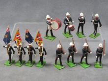 SET (12) BRITAINS ROYAL MARINES COLOR GUARD AND MARCHING DETAIL