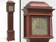 JOSEPH FINNEY (LIVERPOOL 1708-1772), CARVED MAHOGANY TALL CASE CLOCK WITH ENGRAVED BRASS DIAL, 18TH CENTURY. HEIGHT 88