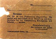 Lodz Ghetto, Jewish Council ? Announcement about the Reception of Mail ? Most Rare