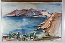 Kinneret (Sea of Galilee) ? Rachel Amir ? Galilee Landscape ? Paintbrush, Ink, Pencil and Chinese Paint ? Rice Paper Glued to Cardboard ? Signed