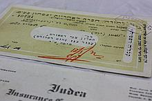 Cheque signed by Ze'ev Jabotinsky from April 5 1929 on behalf of the