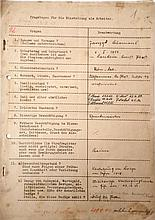 Work Contract for the German Railroad which requires the Worker to State that He is of No Jewish Origin! ? 1939 ? With an Addendum from 1940: Fired because Found