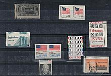 Eight US stamps, with mistakes, some with no stamp pores and some with incorrect stamp pores, with glue, not stamped