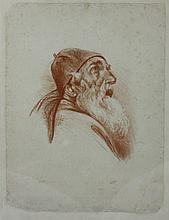 Meir Gur Aryeh, painting, old Jew, brown pencil, signed, framed