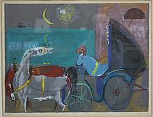 Numbered Lithograph, Chariot on Tel Aviv Beach Background, signed by N. Gutman, 23/150