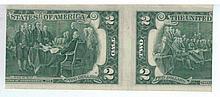 Banknote of 2 American Dollars, 1976 series, error in cutting