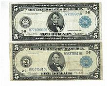 Two banknotes of 5 American Dollar, 1914 series