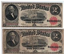 Two banknotes of 2 American Dollar, 1917 series