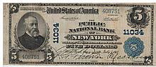Banknote of the national currency of 5 Dollars, New York Federal Bank of the 1902 series, with the original signatures of the New York governor and the governor of the New York Federal Bank