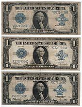 Three banknotes of 1 American Dollar, 1923 series