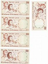 Two Boy and Girl Banknotes, serial number in five different colors, 50 Lira, 1960