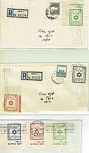 Three envelopes with a stamp of ' Detached Western Galilee' and stamps for Emergency Mail