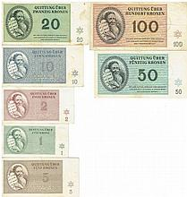 A collection of banknotes, Theresienstadt Ghetto, 1943