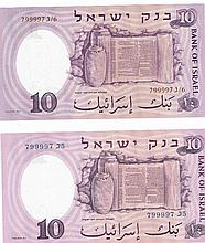 Two Scientist Banknotes, identical serial numbers, different letters, brown and blue, 10 Lira, 1958