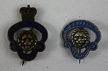 Pair of lapel pins, British Legion and Royal British Legion, Lion relief