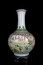 A Large Fine Antique Chinese Qing Gilt Famille Rose Figures and Landscape Porcelain Vase