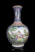 A Large Fine Antique Chinese Qing Gilt Famille Rose Open Figures and Landscape Porcelain Vase