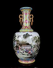 An Excellent Antique Chinese Qing Famille Rose Figures and Landscape Porcelain Vase