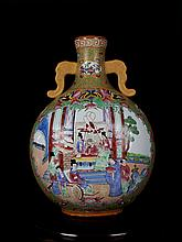 An Excellent Antique Chinese Qing Famille Rose Open Figures and Flowers and Birds Porcelain Moonflask Vase
