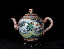 A Fine Antique Chinese Qing Enamel Open Landscape and Figure Porcelain Teapot