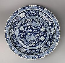 A Large Fine Quality Chinese Blue and White Porcelain Plate