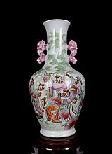 A Rare and Fine Antique Chinese Qing Famille Rose Figures Porcelain Vase