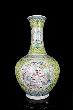 A Large Fine Antique Chinese Qing Famille Rose Dragon and Phoenix Porcelain Vase