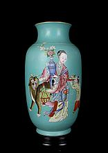 An Excellent Antique Chinese Qing Famille Rose Figures and Animals Porcelain Vase