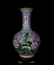 An Excellent Antique Chinese Qing Violet Famille Rose Flowers and Birds Porcelain Vase