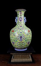 An Excellent Antique Chinese Qing Green Ground Famille Rose Flowers Porcelain Vase