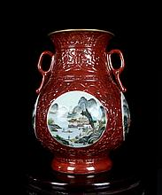 An Excellent Antique Chinese Qing Red Ground Famille Rose Open Landscape Porcelain Vase