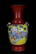 A Fine Large Antique Chinese Qing Gilt Famille Rose Figures Porcelain Vase
