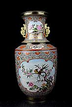 A Fine and Large Chinese Qing Gilt Famille Rose Porcelain Vase