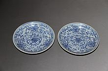 A Pair Qing Blue and White Flowers Porcelain Plates