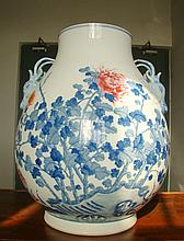 A Large Chinese Qing B/W and Famille Rose Porcelain Zun