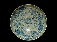 An Antique Qing Period Blue and White Porcelain Plate