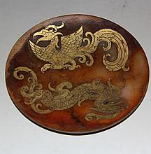 A Hang Dynasty Gold Inlaid He Tian Jade Plate