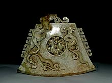 A Large Han Dynasty He Tian Jade Dragon and Phoenix Axe